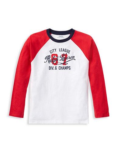 Ralph Lauren Childrenswear Graphic Raglan Cotton Tee-WHITE-X-Large 89926942_WHITE_X-Large