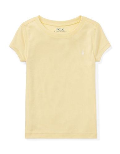 Ralph Lauren Childrenswear Girls Cotton-Blend Crewneck Tee-YELLOW-3T