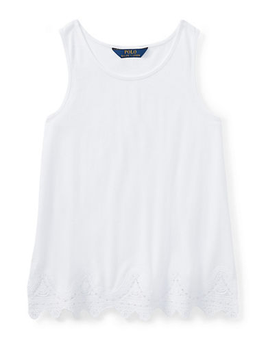 Ralph Lauren Childrenswear Lace-Trimmed Jersey Tank Top-WHITE-X-Large 90029512_WHITE_X-Large