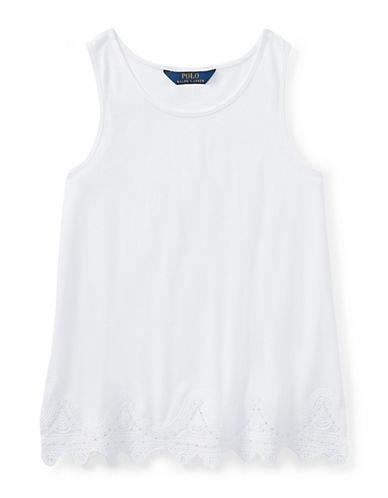 Ralph Lauren Childrenswear Lace-Trimmed Jersey Tank Top-WHITE-Medium 90029510_WHITE_Medium