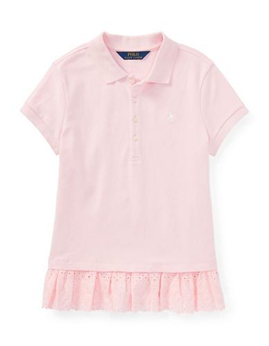 Ralph Lauren Childrenswear Eyelet-Hem Mesh Polo-PINK-Medium