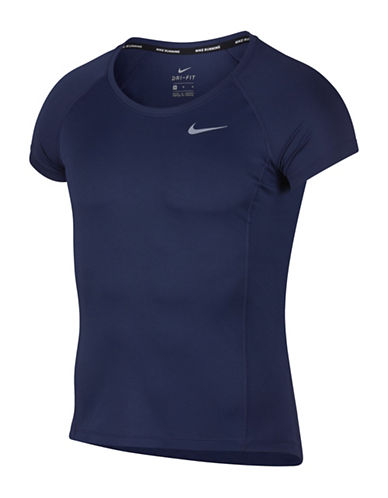 Nike Raglan Dry Miler Running Top-BLUE-Medium