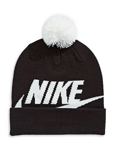 Nike Logo Pom-Pom Beanie-BLACK-One Size