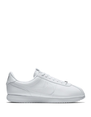 Nike Cortez Basic Leather Athletic Shoes-WHITE-10