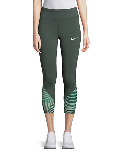 Nike Mesh-Paneled Leggings-GREEN-Medium