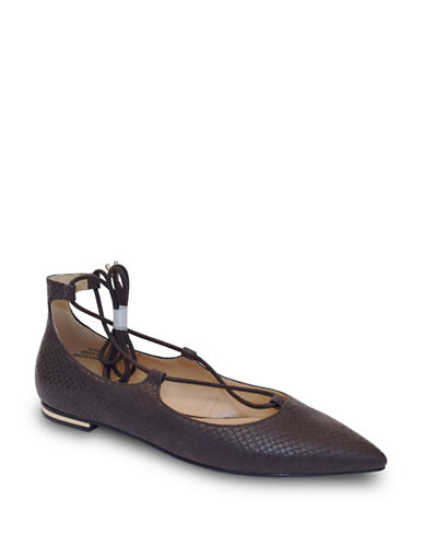 Expression Grace Tie-Up Flats-DARK TAUPE-6
