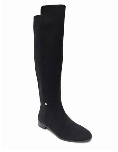 wine stretch suede laced back heeled the knee boots