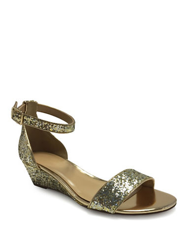 Expression Jasmin Demi Wedge Glitter Sandals-GOLD-6