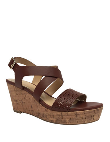 Expression Camila Perf Wedge Sandals-BROWN-9