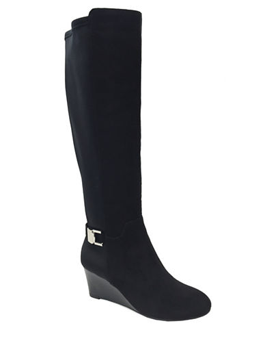Lexi And Abbie Georgia Wedge Over-the-Knee Boots-BLACK-8.5