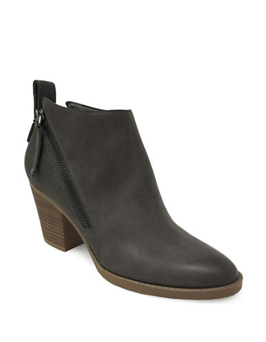 Lexi And Abbie Double Zip Clara Booties-GREY-7.5