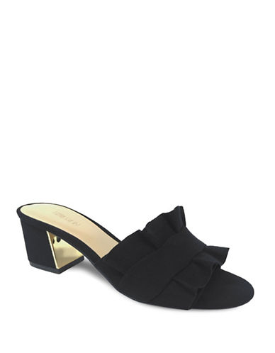 Expression Ruffled Slip-On Sandals-BLACK-7