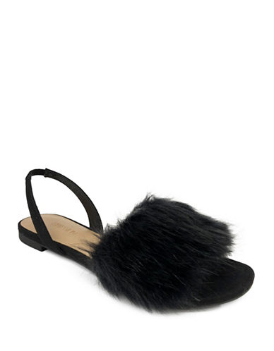 Expression Slip-On Faux Fur Flat Sandals-BLACK-7
