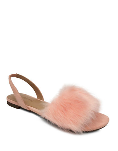 Expression Slip-On Faux Fur Flat Sandals-PINK-10