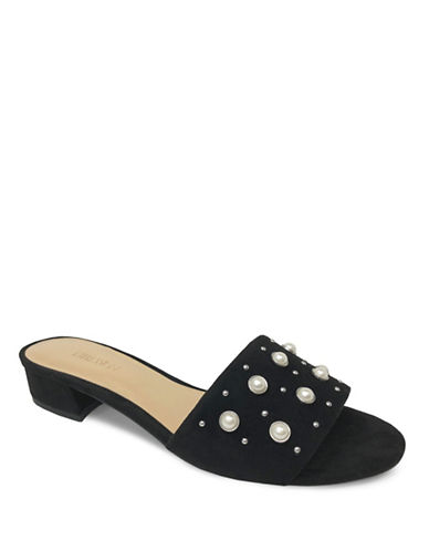 Expression Studded Faux Suede Sandals-BLACK-9