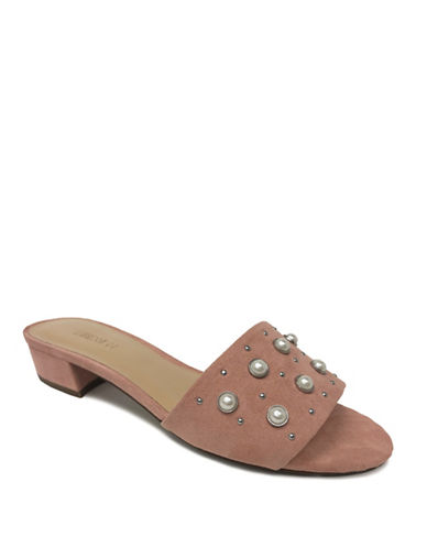 Expression Studded Faux Suede Sandals-ROSE PINK-10