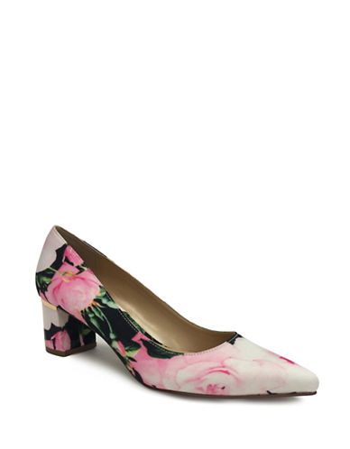 Expression Faux Suede Floral Pumps-FLORAL GREY-9