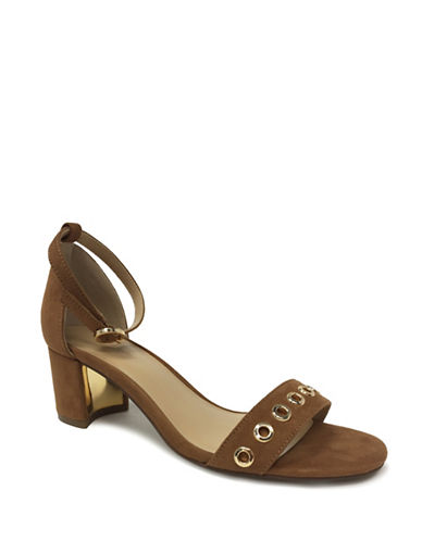 Expression Grommet Faux Suede Sandals-COGNAC-6