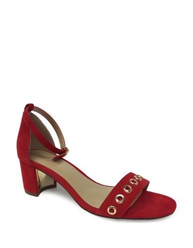 Expression Grommet Faux Suede Sandals-SCARLET-7