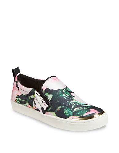 Expression Floral Slip-On Sneakers-GREEN-8