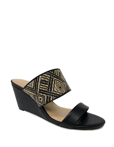 Expression Two-Band Woven Wedge Sandals-BLACK-10
