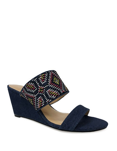Expression Two-Band Woven Wedge Sandals-NAVY-10