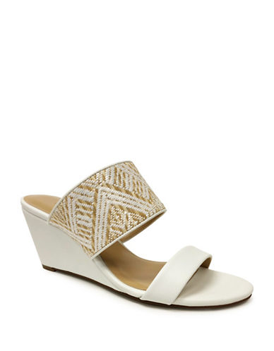 Expression Two-Band Woven Wedge Sandals-WHITE-7