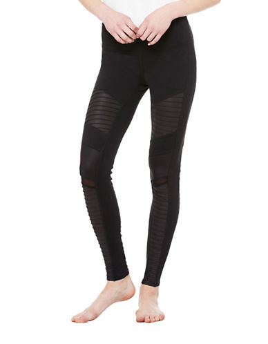 Alo Yoga Moto Mixed Media Leggings-BLACK-Medium 87727167_BLACK_Medium