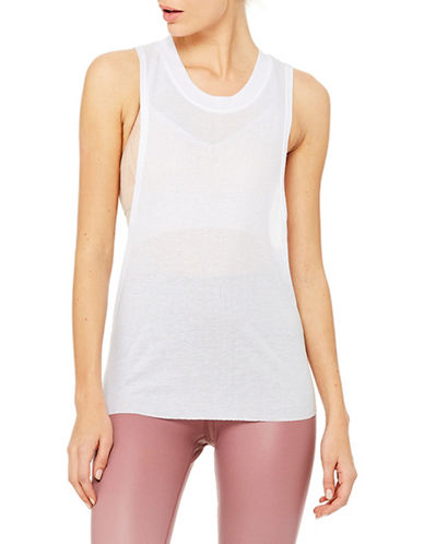 Alo Yoga Cut-Out Sleeve Tank Top-WHITE-Large