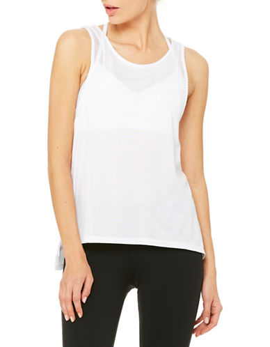Alo Yoga Sunshade Mesh Tank-WHITE-Medium plus size,  plus size fashion plus size appare
