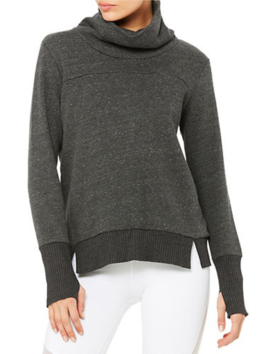 Alo Yoga Haze Cowl Neck Sweatshirt-GREY-Medium 88683851_GREY_Medium