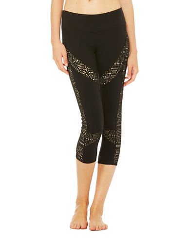 Alo Yoga Charm Laser Cut-Out Capri Pants-BLACK-Small 89121538_BLACK_Small