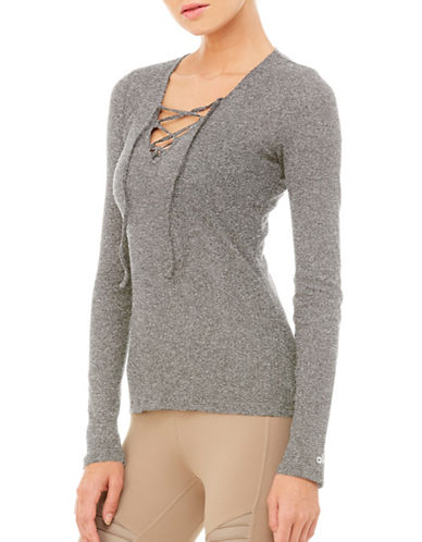 Alo Yoga Interlace Long Sleeve Top-CHARCOAL-X-Small
