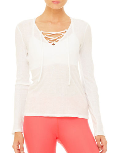 Alo Yoga Interlace Long Sleeve Top-WHITE-Large 89158085_WHITE_Large