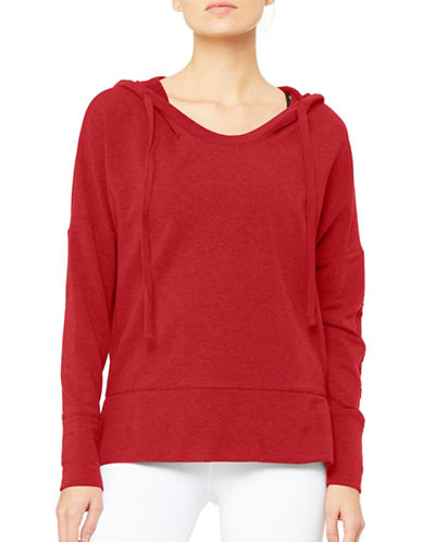 Alo Yoga Dropped Shoulder Hoodie-RED-Large
