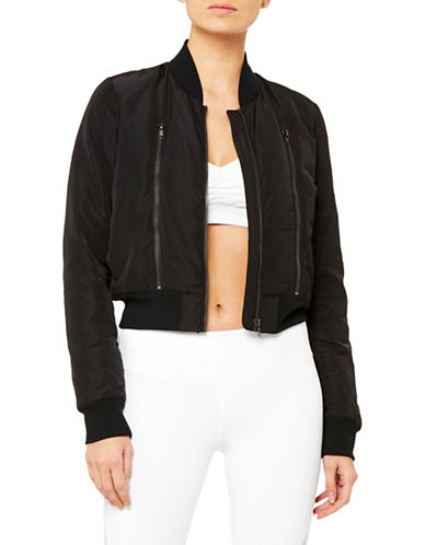 Alo Yoga Off Duty Bomber Jacket-BLACK-Small 89700631_BLACK_Small
