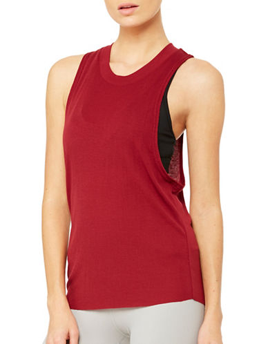 Alo Yoga Heat-Wave Athleisure Tank Top-RED-Medium