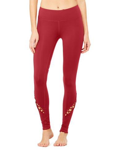 Alo Yoga Entwine Lattice Leggings-RED-Medium