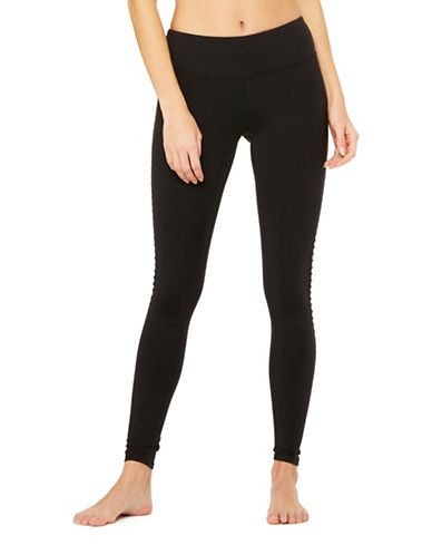 Alo Yoga Luminous Elasticized Leggings-BLACK-Medium 89485075_BLACK_Medium