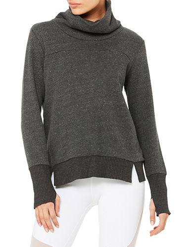 Alo Yoga Haze Cowl Neck Sweatshirt-GREY-Small 89700623_GREY_Small