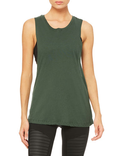 Alo Yoga Tidal Muscle Tank-GREEN-Medium