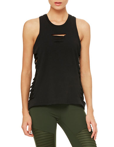 Alo Yoga Cut It Out Long Tank-BLACK-Medium