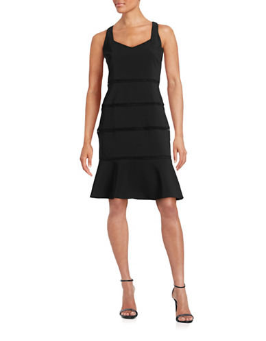 Belle By Badgley Mischka Flounce Hem Tank Dress-BLACK-8