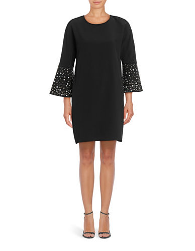 Belle By Badgley Mischka Grommet Bell Sleeve Shift Dress-BLACK-10