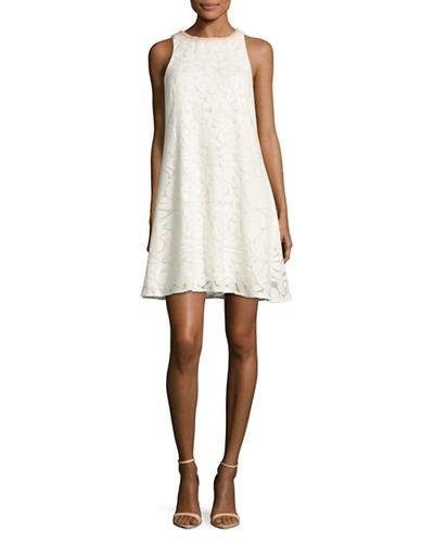 Belle By Badgley Mischka Sequin Trapeze Dress-WHITE-4