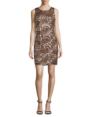 Belle By Badgley Mischka Sequined Wave Sheath Dress-PINK-6