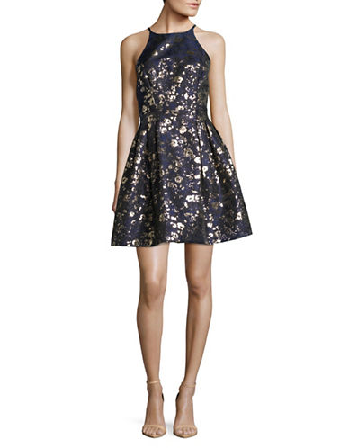 Belle By Badgley Mischka Print Jacquard Fit-and-Flare Dress-BLUE-8
