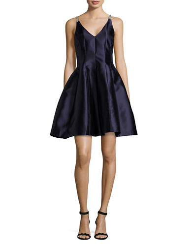 Belle By Badgley Mischka Crystal Strap Fit-And-Flare Gown-NAVY-10