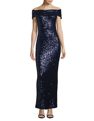 Belle By Badgley Mischka Sequined Off-Shoulder Gown-BLUE-14