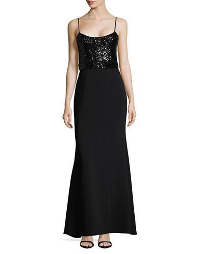 Belle By Badgley Mischka Sequin Bodice Column Gown-BLACK-8